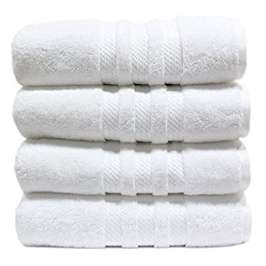 100% Cotton Luxury Bath Towel - 30  x 58  - White