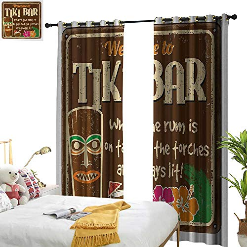 Anyangeight Tiki Bar,Decorative Curtains for Living Room,Aged Old Frame Sign of Tiki Bar with Inspirational Quote Leisure Travel Print,W96 xL84,Suitable for Bedroom Living Room Study, etc.