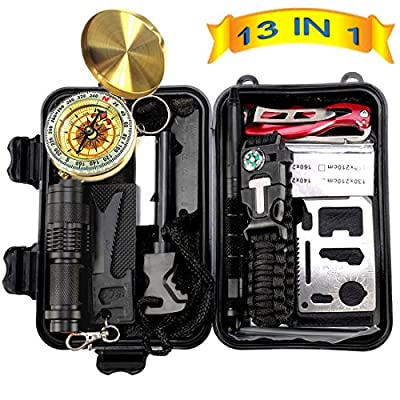 Anyprize Emergency Survival Kit 13 in 1, Outdoor Survival Gear Tool with Survival Bracelet, Folding Knife, Compass, Emergency Blanket, Fire Starter, Flashlight, Tactical Pen for Camping, Hiking by Anyprize