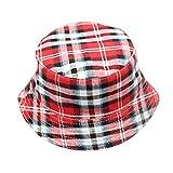 ❤️ Mealeaf ❤️ Toddler Baby Kids Boys Girls Plaid Pattern Bucket Hats Sun Helmet Cap(C,)