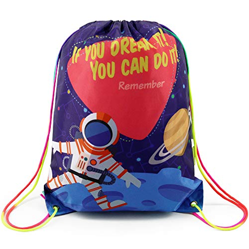 Astronaut Drawstring Backpack Bag Gift Bag for Kids Boys Girls, Cinch Gym Sack Pack for School and Birthday Party]()