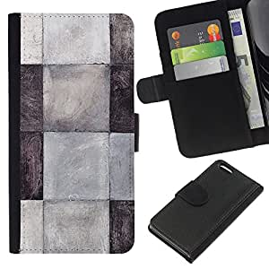 KingStore / Leather Etui en cuir / Apple Iphone 5C / Patrón Azulejos Negro Blanco Gris Limpio