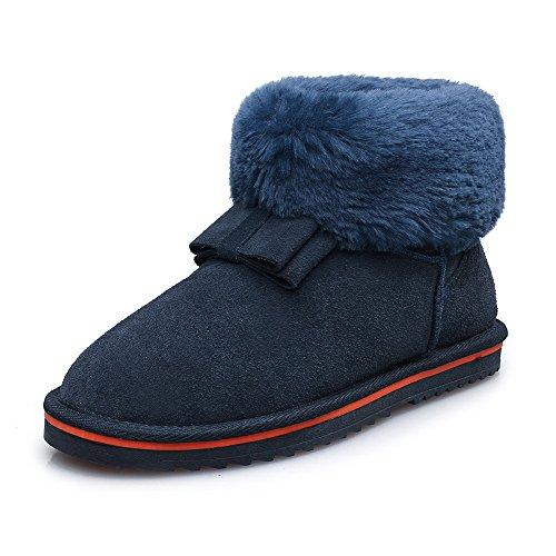 Amoonyfashion Kvinners Rund-tå Lukket Tå Lave Hæler Støvler Med Slipping Såle Og Bowknot Blå