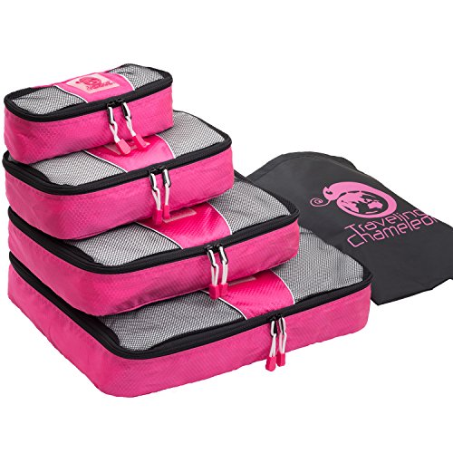 (Chameleon PACKING CUBES for Travel -4 Piece Set Luggage Organizers with Shoe Bag (Pretty Pink))