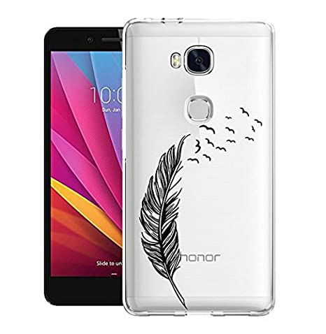 Honor 5X Funda, ocketcase® TPU Silicona Suave Carcasa Gel Protectora Back Shell Tapa Case Cover para Huawei Honor 5X(pluma) + Gratis lápiz óptico