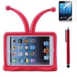 Child Kids Fun EVA Light Weight Shock Proof Stand-free Cute Tentacle-like Case Cover For iPad Mini Red