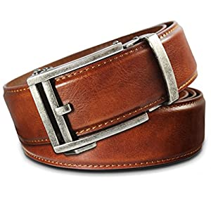 Men's Leather Ratchet Click Belt - Hemingway Antique Silver Buckle w/ Saddle Tan Leather Belt (Trim to Fit: Up to 45'' Waist)