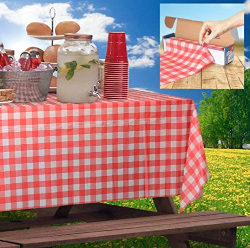 Red Gingham Picnic / Party Plastic Tablecloth Roll, Disposable Picnic colored Table cloth On a Roll With Self Cutter Box,Cut Tablecloth To Your Own Table Size,Indoor/Outdoor, By Clearly Elegant