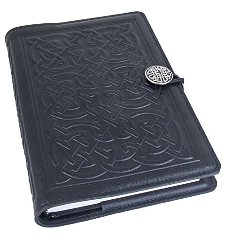Genuine Leather Refillable Journal Cover with a Hardbound Blank Insert, 6x9 Inches, Bold Celtic, Black with a Pewter Button, Made in The USA by Oberon Design