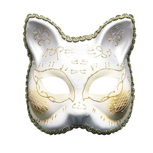 LOVELONG Creative Carnival Masquerade Mask Adult Half Face Halloween Mask (White) for $<!--$16.99-->