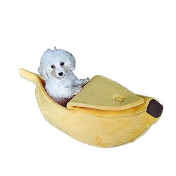 Oncpcare - Cama para Gatos de plátano Amarillo, Suave Cama para Perro, Bonita Cama
