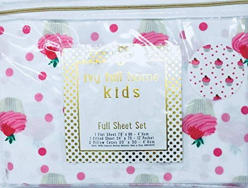 Ivy Hill Home Kids Cupcakes Topped with Strawberries - Theme 4 Piece Full Sheet Set