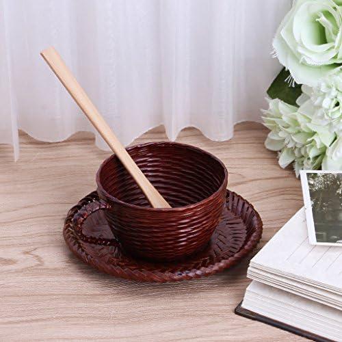 Lunji 1 Set Tasse a Cafe Bambou Vintage avec Plat et Cuill/ère