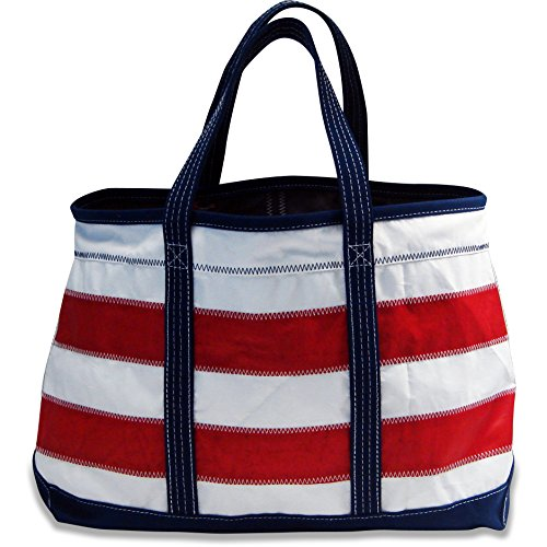 Boyd Sailcloth Shore Bag (Red Horizontal Stripe) – Premium Handmade From 100% Recycled Water Resistant Sailboat Sails. Multipurpose Tote Bag,Duffel Ba…