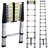 Telescopic Ladder IDAODAN 3.8M Aluminum Telescopic/Telescoping Loft Extension Ladder with Finger Protection Spacers for Home Loft Office, EN131 Certified,...
