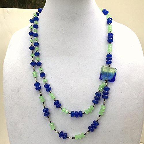 Long Double Strand Blue Green Necklace, Murano Glass Focal, Asymmetrical Art Deco, Flapper Jewelry, Genuine Venetian Silver Lined Bead (Strand Venetian Necklace)