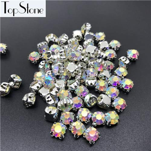 Pukido Crystal Clear AB Color 3/4/5/6/7/8/10mm Round Sew on Crystal Rhinestone Glass Chatons with Silver Claw Setting - (Color: Crystal ab, Item Diameter: 6MM 150pcs) ()
