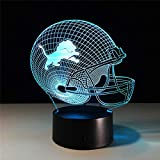 PrinceShop - USB table desk Lamp Team Logo 3D Light LED Detroit Lions Football Cap Helmet 7 color changing touch switch light Home Decoration