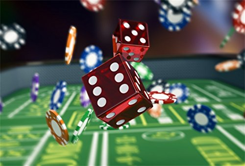 CSFOTO 8x6ft Background for Casinos Signs Red Dice Photography Backdrop Gambling House Bet Las Vegas Playing Card Roulette Wheel and Chips Entertainment Game Photo Studio Props Vinyl Wallpaper -