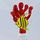 Hand-blown Glass Red Coral w/Angel Fish Bottle Stoppers by Yurana Designs - BS044