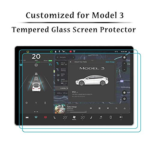 Tempered Glass Touch Screen Protector for Tesla Model 3, Anti-Fingerprint Anti-Glare Anti-Scratch HD Clear Toughened Glass Protector for Tesla Model 3 Navigation Touch Screen