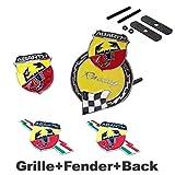 4pcs Sets AM91 ABARTH Front Grille Yellow + Fender Side Sticker + Back Sticker Car Emblem Badge For FIAT 124 125 125 500 695 OT2000 Coupe