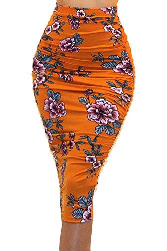 (Vivicastle Women's Ruched Frill Ruffle High Waist Pencil Mid-Calf Skirt (1R, mustrd, Large))