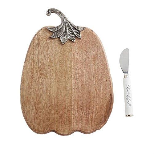 Mud Pie 4754108 Thankful Pumpkin Serving Set Cheese Board, One Size, Brown (Serving Dishes Pumpkin)