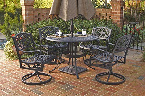 Biscayne Black 5-Piece Outdoor Dining Set with 4 Swivel Chairs by Home Styles ()