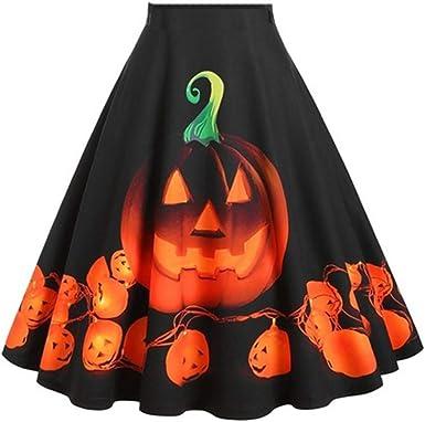 TOFOTL - Falda para Mujer, diseño de Calabaza, para Halloween ...