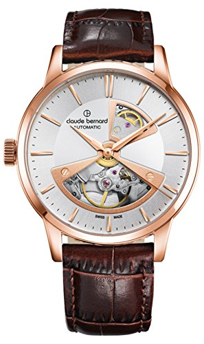 Claude Bernard Men's Swiss Automatic Gold-Tone and Leather Dress Watch, Color:Brown (Model: 85017 37R AIR2)