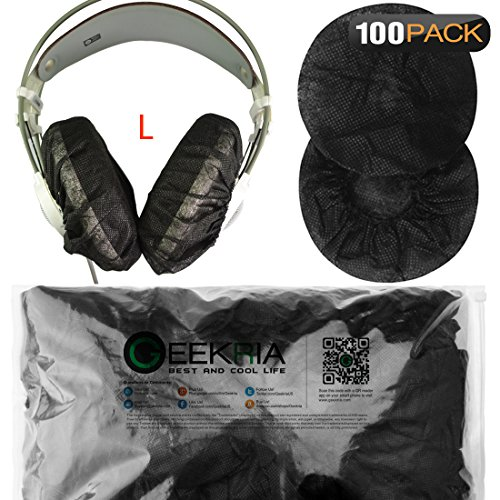 Geekria Large Stretchable Headphone 200PCS Earpad Covers / Disposable Sanitary Earcup Fit Beyerdynamic T1, DT660, DT770, DT990, DT880, Sony MDR-Z1R Headphones (100Pairs, Black) - Disposable Headphone Covers
