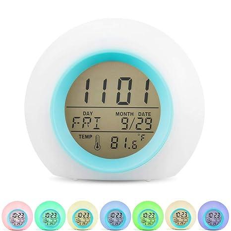 Ninonly Despertadores Digital Multifuncional, Despertador Reloj Temperatura Interior/Calendario/Snooze con 6 Sonido