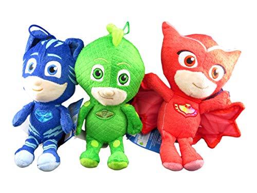 Fiesta Toys PJ Masks Gekko Owlette Catboy 8 Tall Plush Doll Assortment (3 Peices Set)