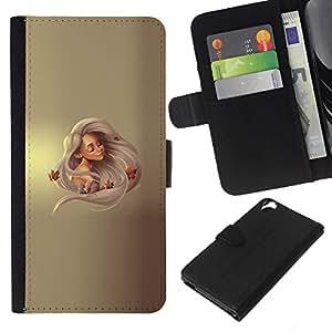 YiPhone /// Tirón de la caja Cartera de cuero con ranuras para tarjetas - Princesa rubia - HTC Desire 820
