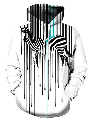 Uideazone Teens 3D Animal Printed Hoodies Zebra Cool Hooded Sweatshirts Pullover