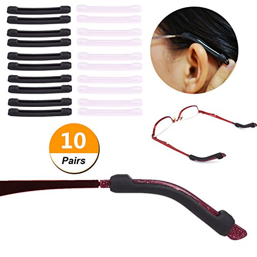 YR+Anti-Slip+Eyeglasses+Temple+Tips+Sleeve+Retainer%2C+Elastic+Soft+Silicone+Comfort+Glasses+Retainers+For+Sunglasses+Reading+Glasses+Eyewear%2C+Black+%26Clear%2C+10+Pairs