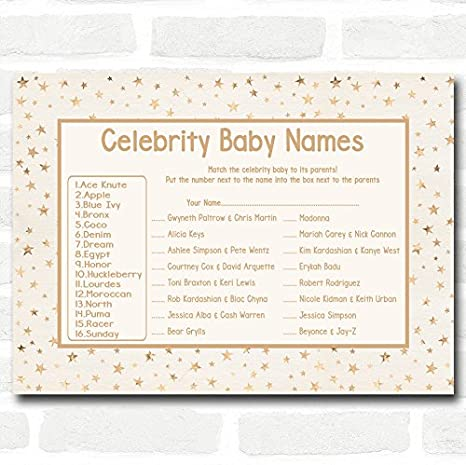 Amazon.com: Neutro estrellas doradas Baby Shower juegos ...