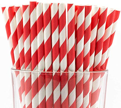 Pack of 150 Biodegradable Red Swirls Paper Drinking Straws (Compostable, Non-toxic, BPA-free)