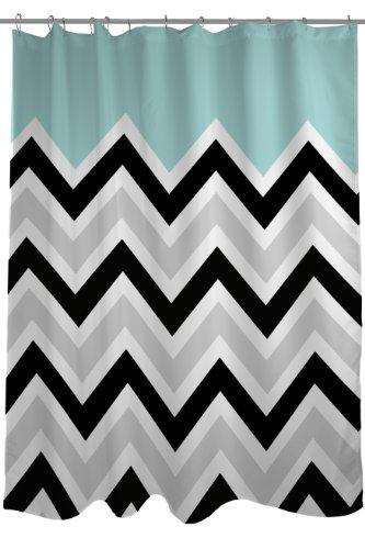 "One Bella Casa Chevron Solid Shower Curtain by OBC, Standard 71""x 77"", Light Blue/Black/White"