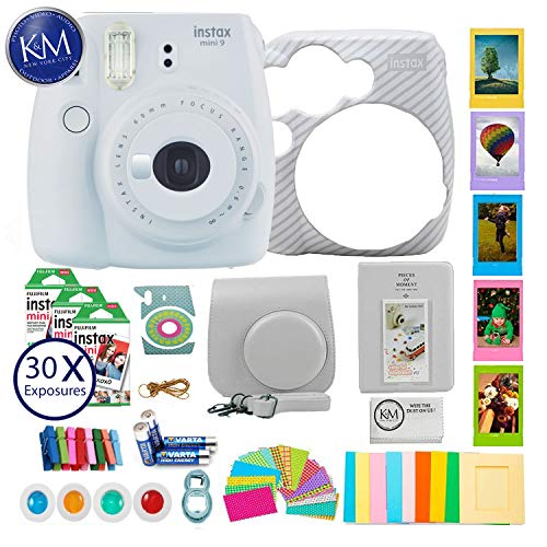 Fujifilm instax Mini 9 Instant Camera Smokey White + 30 Fresh Exposures + Silicone Cover + Instax Accessories Bundle | 16pc Accessory Includes: Album, Lenses, Stickers, and More!