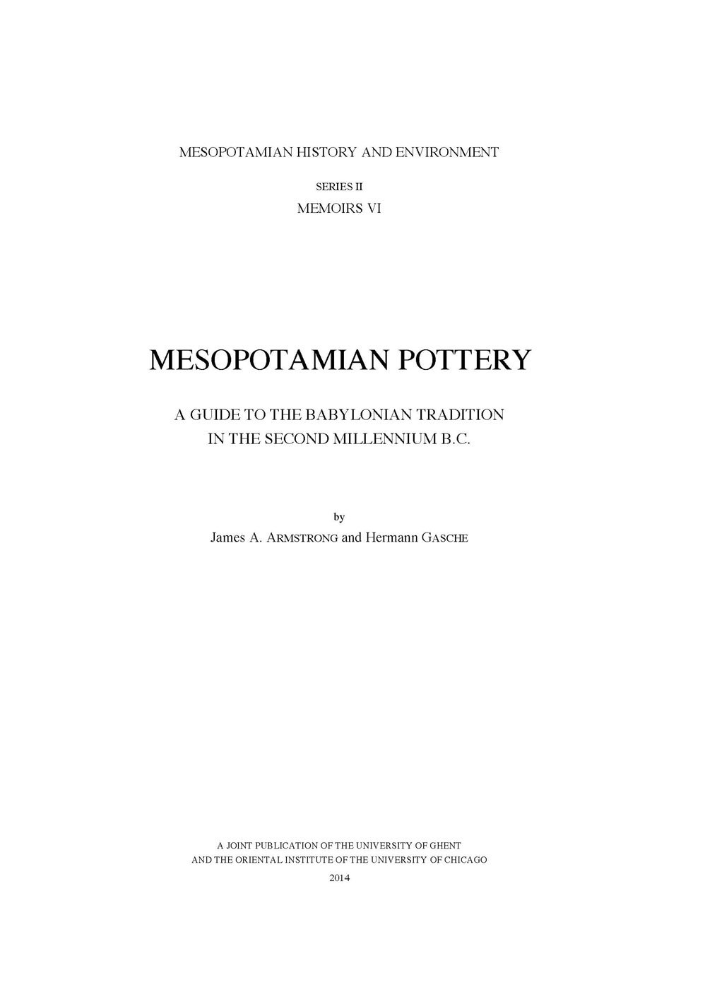 Download Mesopotamian Pottery: A Guide to the Babylonian Tradition in the Second Millennium B.C. (Mesopotamian History and Environment) PDF