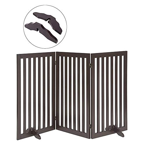 Espresso Support Panel - Total Win Freestanding Pet Gate for Dogs with 2PCS Support Feet, Foldable Wooden Dog Gates for Doorways Stairs, Indoor Pet Puppy Safety Fence, Extra Tall, 36 Inches H, 60 Inches W, 3 Panels, Espresso