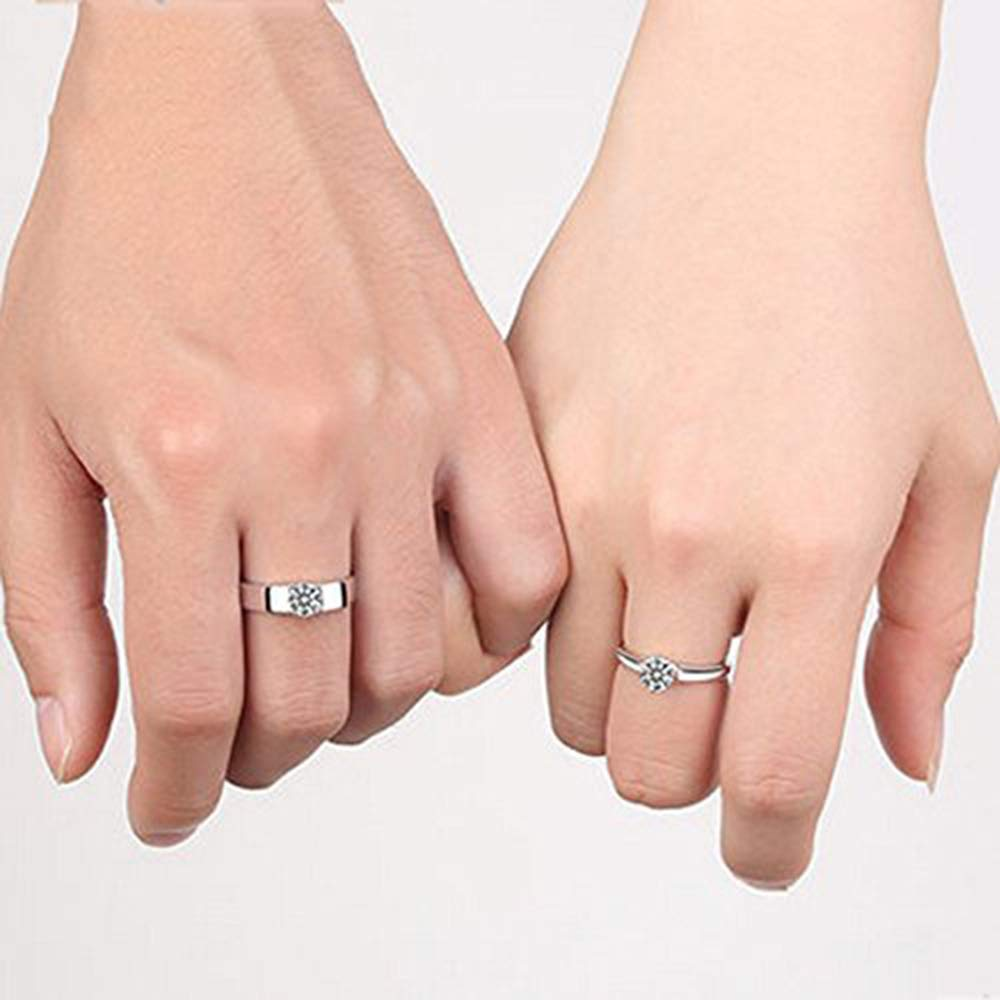 NSHUN Heart Crystal Sterling Silver Couple Ring A Pair of Students Wild Simple Personality Open Mouth Male and Female Ring