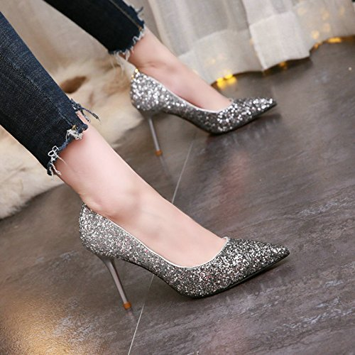 Work Sharp Wedding Heads Lady Shallow High MDRW Fashion 8Cm Color Elegant Silver Spring Shoes Sequins Gradient Dresses Heels Single Wedding Black Leisure Fine 34 Shoes Heels ZExqfaxwAT