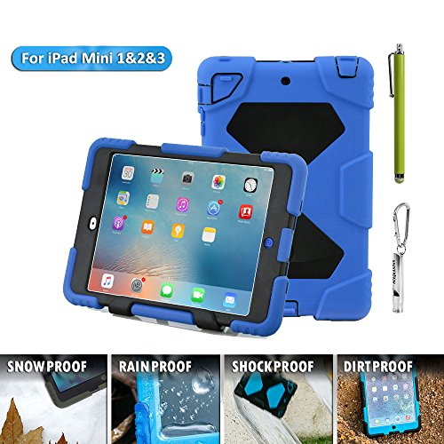 Aceguarder Apple Ipad Mini 1&2&3 Case Waterproof Rainproof Shockproof Kids Proof Case (BLUE-BLACK)