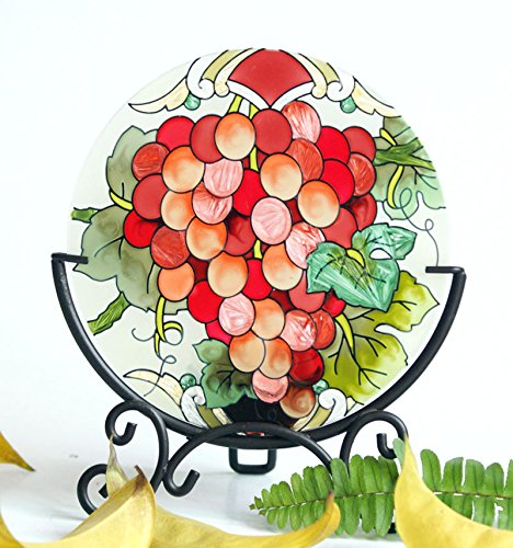 Hand Painted Art Glass Tea Light Candle Holder Table Topper Candleware Holiday Decor (Harvest Grape)