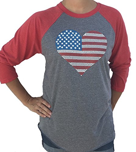 Women's USA Studded Flag Heart 4th of July 3/4 Sleeve Tri Blend Tshirt XSmall - Flag Studded
