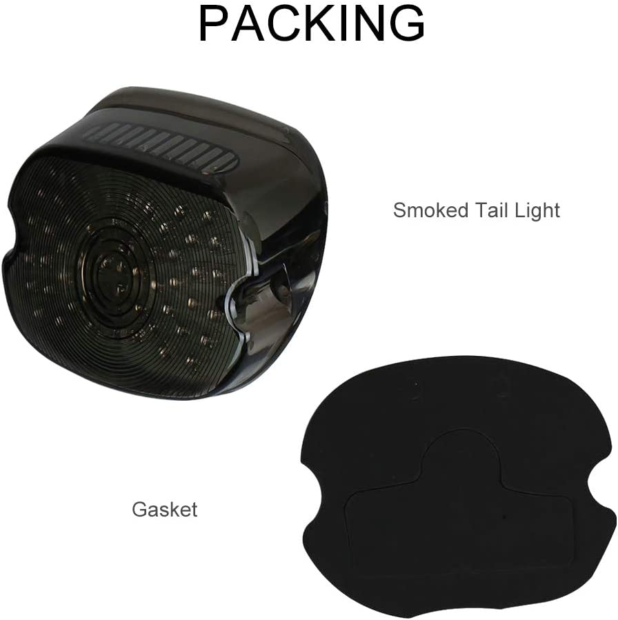 MOSTOP Smoked Harley Davidson Taillights LED Lay Down Motorcycle Driving Rear Turn Signal Brake Lights for Sportster FLST Electra Glides Road Glides 2002-2010 Dynas License Plate Light