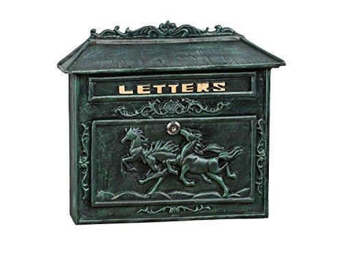 Briefkasten Wandbriefkasten Eisen Nostalgie Postkasten grün antik Stil Pferd 7kg